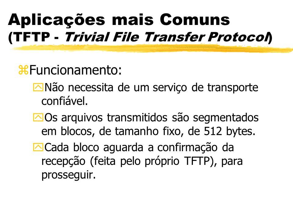 Aplicações mais Comuns (TFTP - Trivial File Transfer Protocol) zFuncionamento: yNão necessita de um serviço de transporte confiável. yOs arquivos tran