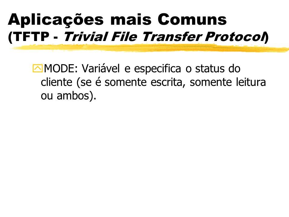 Aplicações mais Comuns (TFTP - Trivial File Transfer Protocol) yMODE: Variável e especifica o status do cliente (se é somente escrita, somente leitura