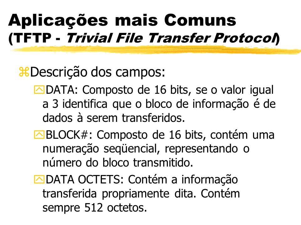 Aplicações mais Comuns (TFTP - Trivial File Transfer Protocol) zDescrição dos campos: yDATA: Composto de 16 bits, se o valor igual a 3 identifica que