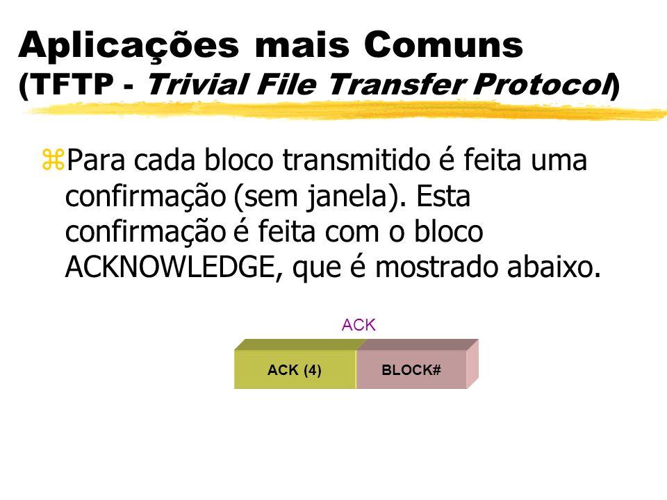 Aplicações mais Comuns (TFTP - Trivial File Transfer Protocol) zPara cada bloco transmitido é feita uma confirmação (sem janela). Esta confirmação é f