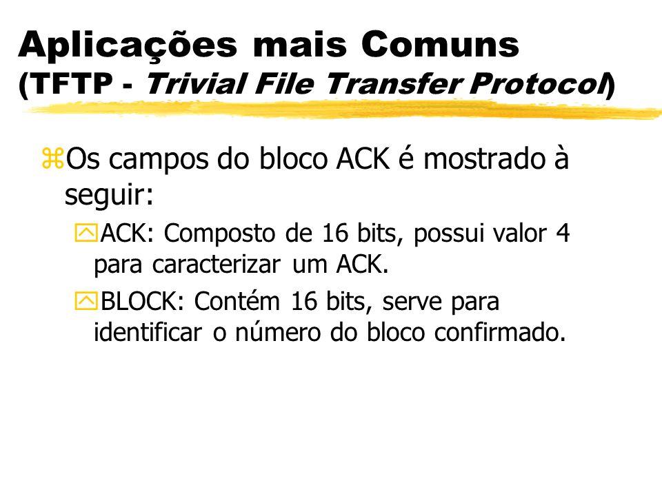 Aplicações mais Comuns (TFTP - Trivial File Transfer Protocol) zOs campos do bloco ACK é mostrado à seguir: yACK: Composto de 16 bits, possui valor 4