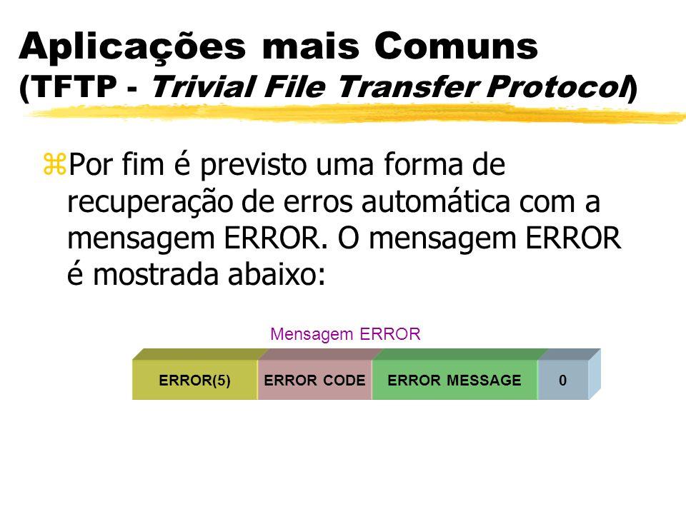 Aplicações mais Comuns (TFTP - Trivial File Transfer Protocol) zPor fim é previsto uma forma de recuperação de erros automática com a mensagem ERROR.