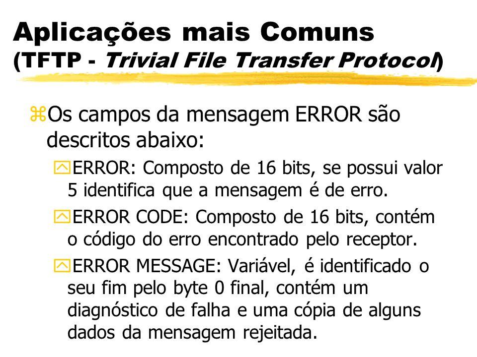 Aplicações mais Comuns (TFTP - Trivial File Transfer Protocol) zOs campos da mensagem ERROR são descritos abaixo: yERROR: Composto de 16 bits, se poss