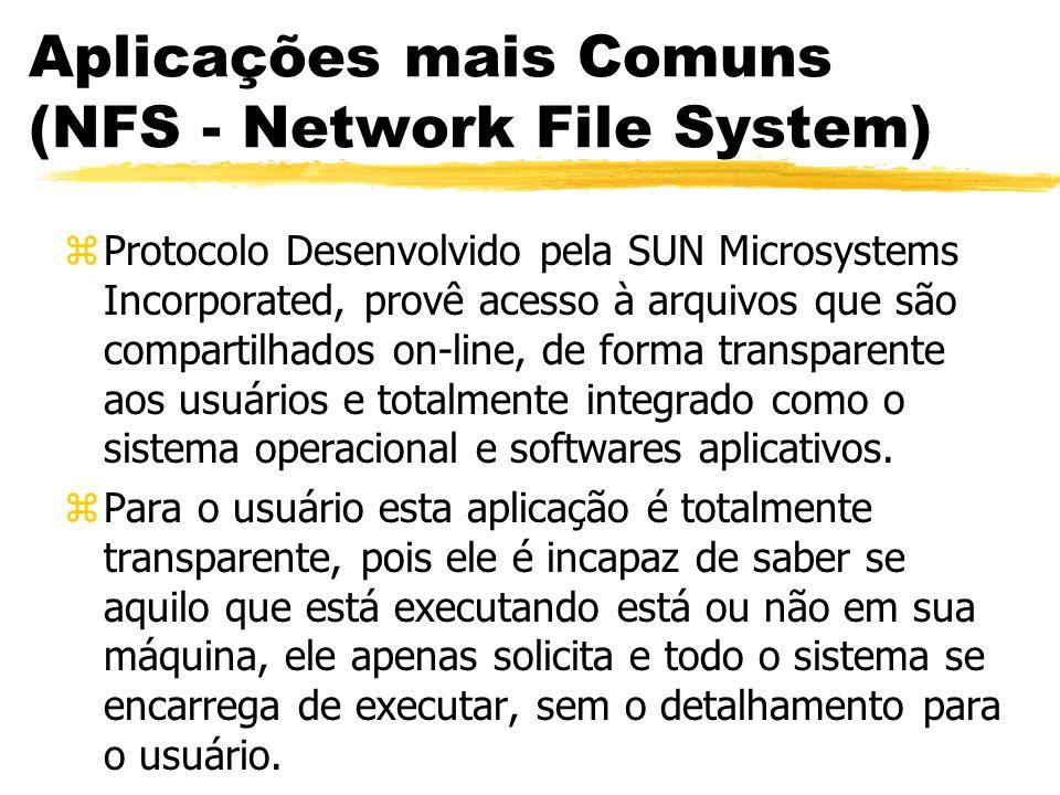 Aplicações mais Comuns (NFS - Network File System) zProtocolo Desenvolvido pela SUN Microsystems Incorporated, provê acesso à arquivos que são compart