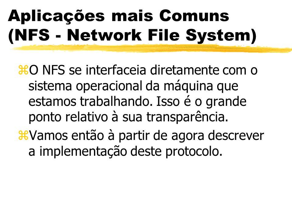 Aplicações mais Comuns (NFS - Network File System) zO NFS se interfaceia diretamente com o sistema operacional da máquina que estamos trabalhando. Iss