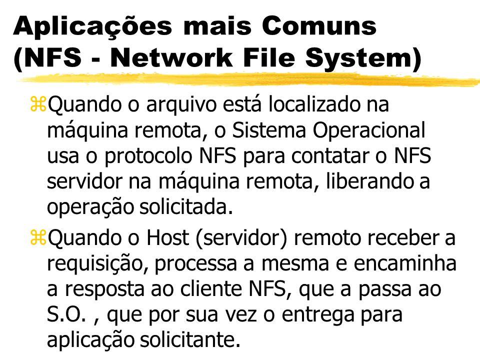 Aplicações mais Comuns (NFS - Network File System) zQuando o arquivo está localizado na máquina remota, o Sistema Operacional usa o protocolo NFS para