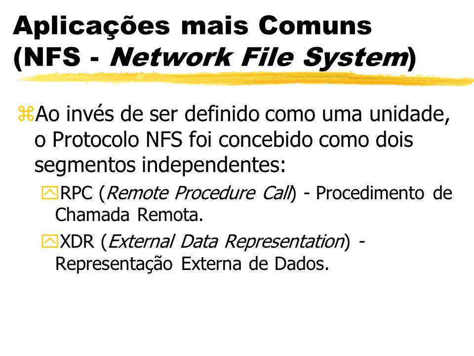 Aplicações mais Comuns (NFS - Network File System) zAo invés de ser definido como uma unidade, o Protocolo NFS foi concebido como dois segmentos indep