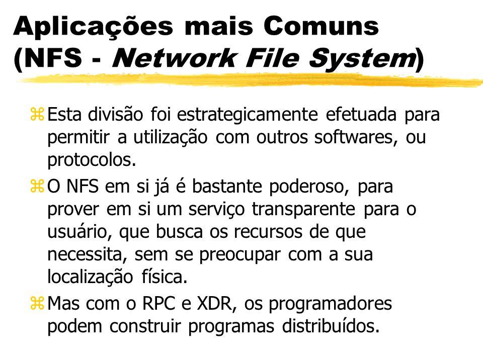 Aplicações mais Comuns (NFS - Network File System) zEsta divisão foi estrategicamente efetuada para permitir a utilização com outros softwares, ou pro
