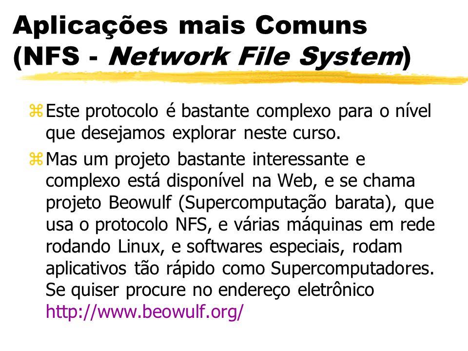 Aplicações mais Comuns (NFS - Network File System) zEste protocolo é bastante complexo para o nível que desejamos explorar neste curso. zMas um projet