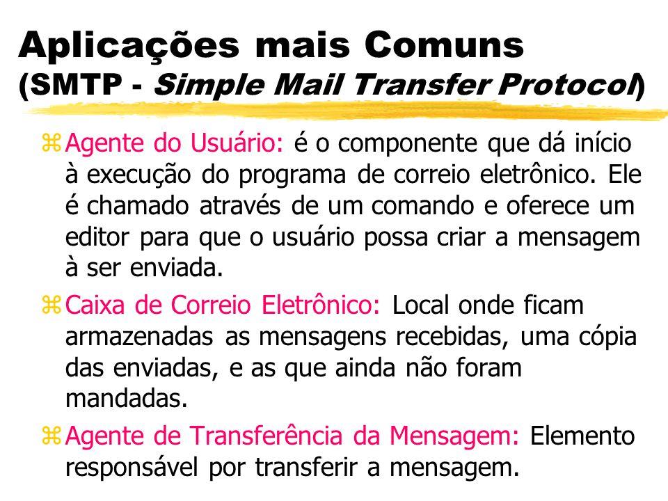 Aplicações mais Comuns (SMTP - Simple Mail Transfer Protocol) zAgente do Usuário: é o componente que dá início à execução do programa de correio eletr