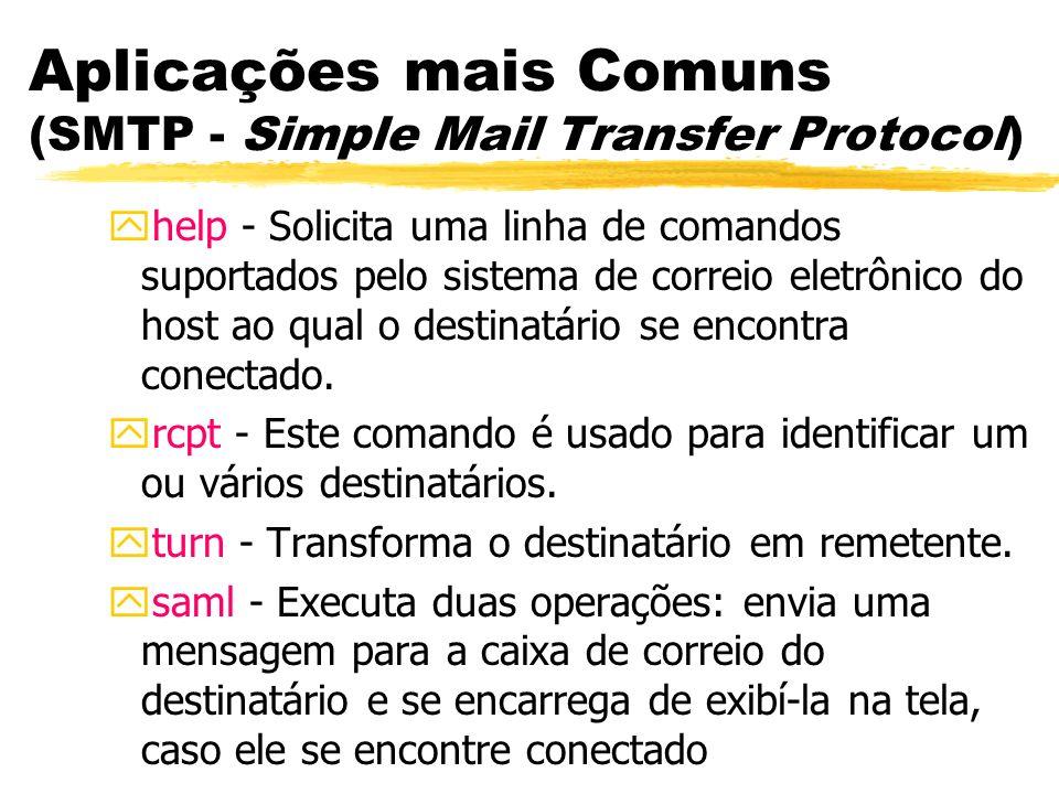 Aplicações mais Comuns (SMTP - Simple Mail Transfer Protocol) yhelp - Solicita uma linha de comandos suportados pelo sistema de correio eletrônico do