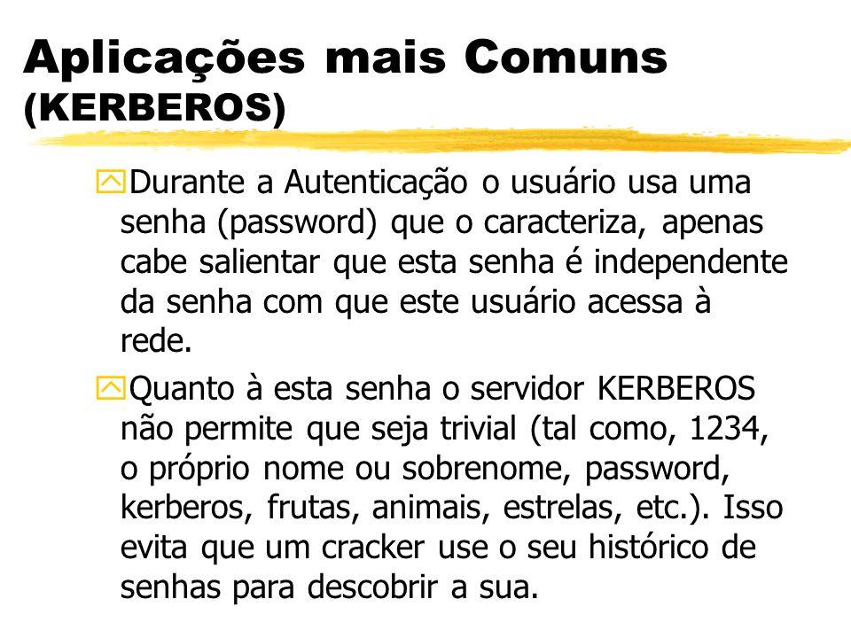 Aplicações mais Comuns (KERBEROS) yDurante a Autenticação o usuário usa uma senha (password) que o caracteriza, apenas cabe salientar que esta senha é