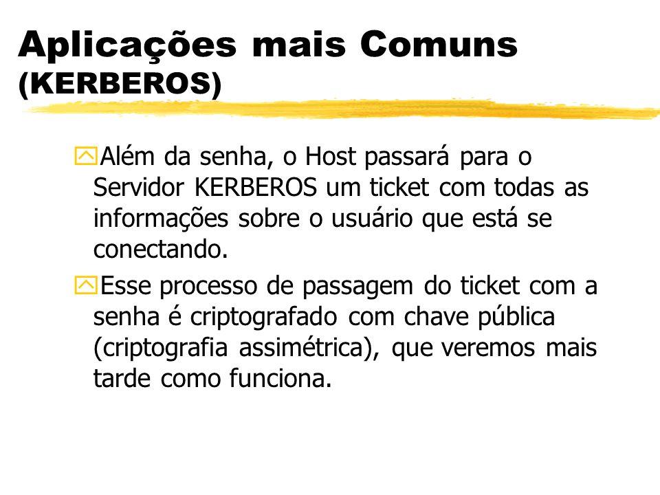 Aplicações mais Comuns (KERBEROS) yAlém da senha, o Host passará para o Servidor KERBEROS um ticket com todas as informações sobre o usuário que está