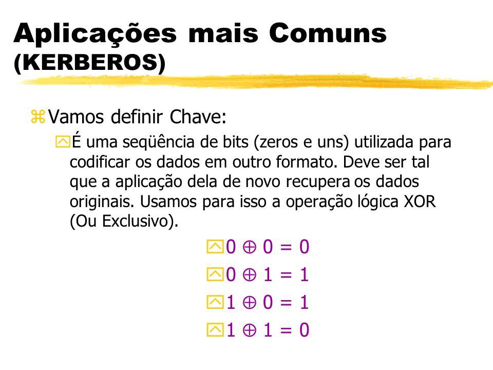 Aplicações mais Comuns (KERBEROS) zVamos definir Chave: yÉ uma seqüência de bits (zeros e uns) utilizada para codificar os dados em outro formato. Dev