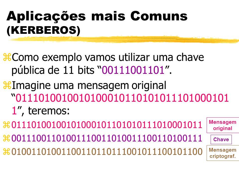 Aplicações mais Comuns (KERBEROS) zComo exemplo vamos utilizar uma chave pública de 11 bits 00111001101. zImagine uma mensagem original011101001001010