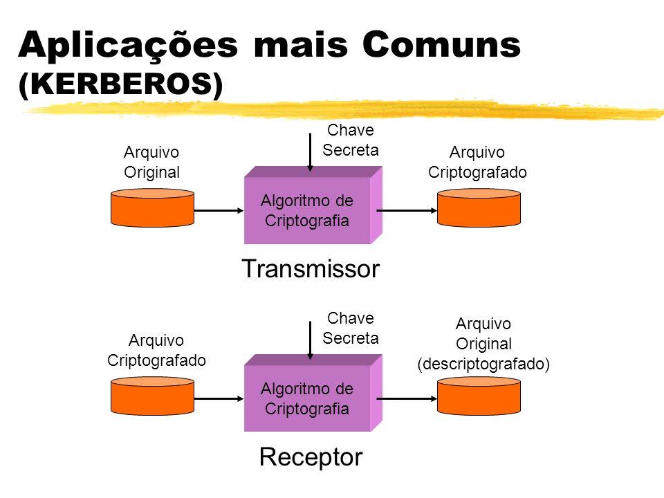 Aplicações mais Comuns (KERBEROS) Algoritmo de Criptografia Arquivo Original Arquivo Criptografado Chave Secreta Transmissor Algoritmo de Criptografia