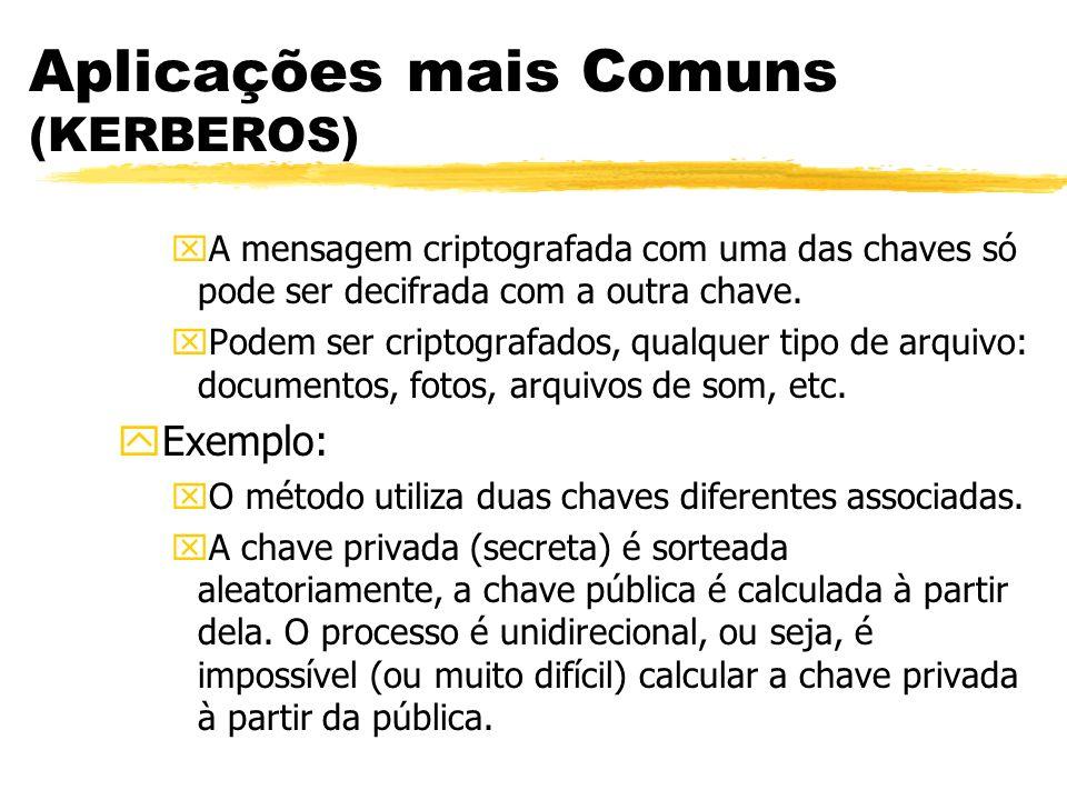 Aplicações mais Comuns (KERBEROS) xA mensagem criptografada com uma das chaves só pode ser decifrada com a outra chave. xPodem ser criptografados, qua