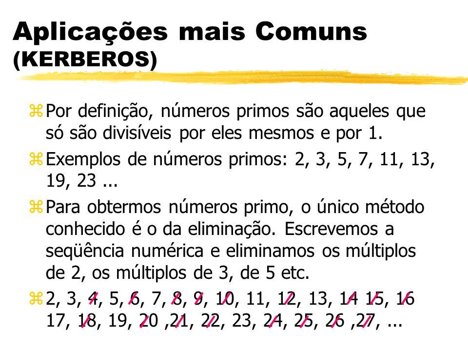 Aplicações mais Comuns (KERBEROS) zPor definição, números primos são aqueles que só são divisíveis por eles mesmos e por 1. zExemplos de números primo