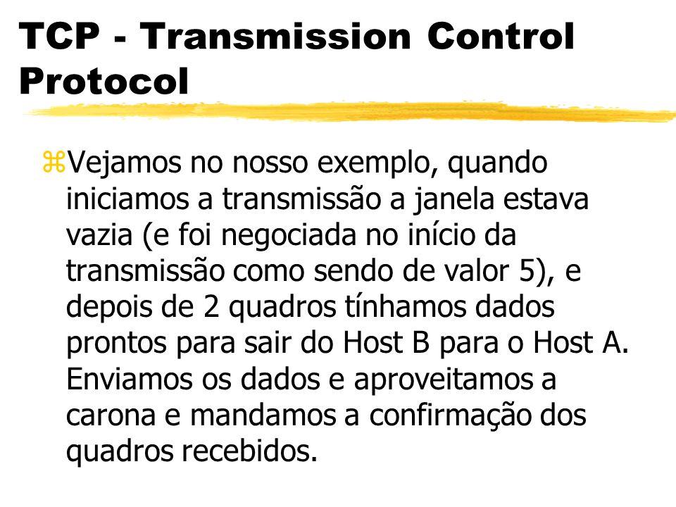 TCP - Transmission Control Protocol zVejamos no nosso exemplo, quando iniciamos a transmissão a janela estava vazia (e foi negociada no início da tran