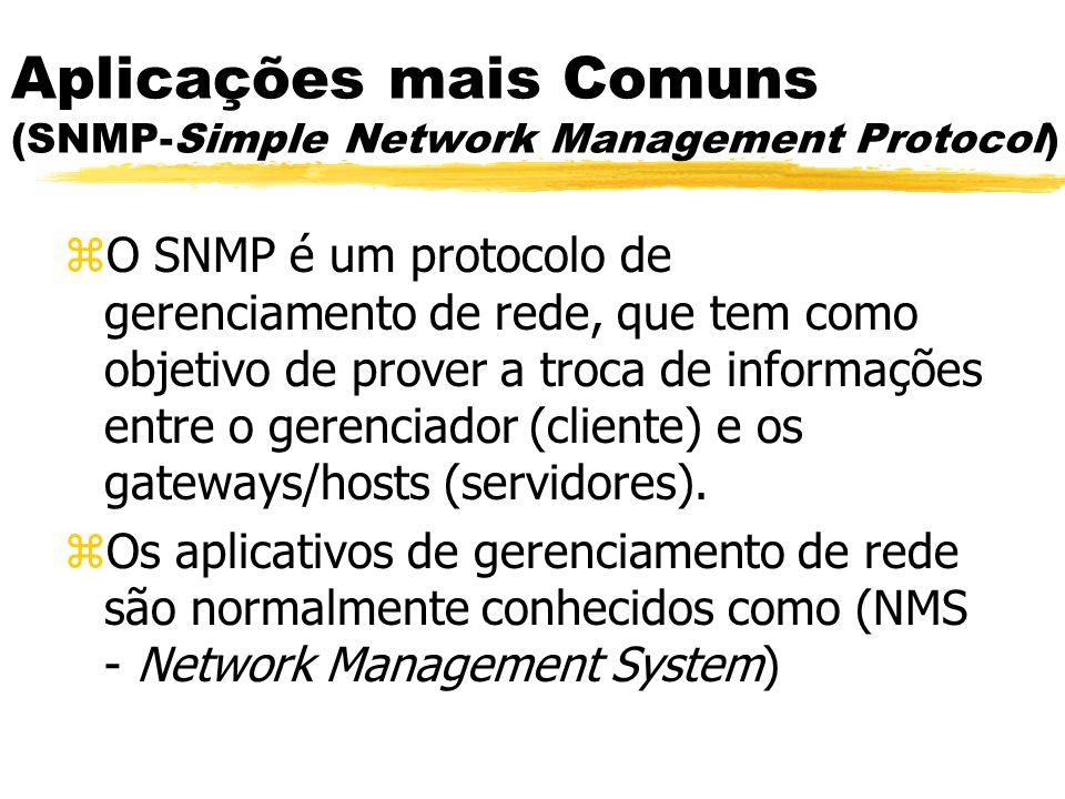 Aplicações mais Comuns (SNMP-Simple Network Management Protocol) zO SNMP é um protocolo de gerenciamento de rede, que tem como objetivo de prover a tr
