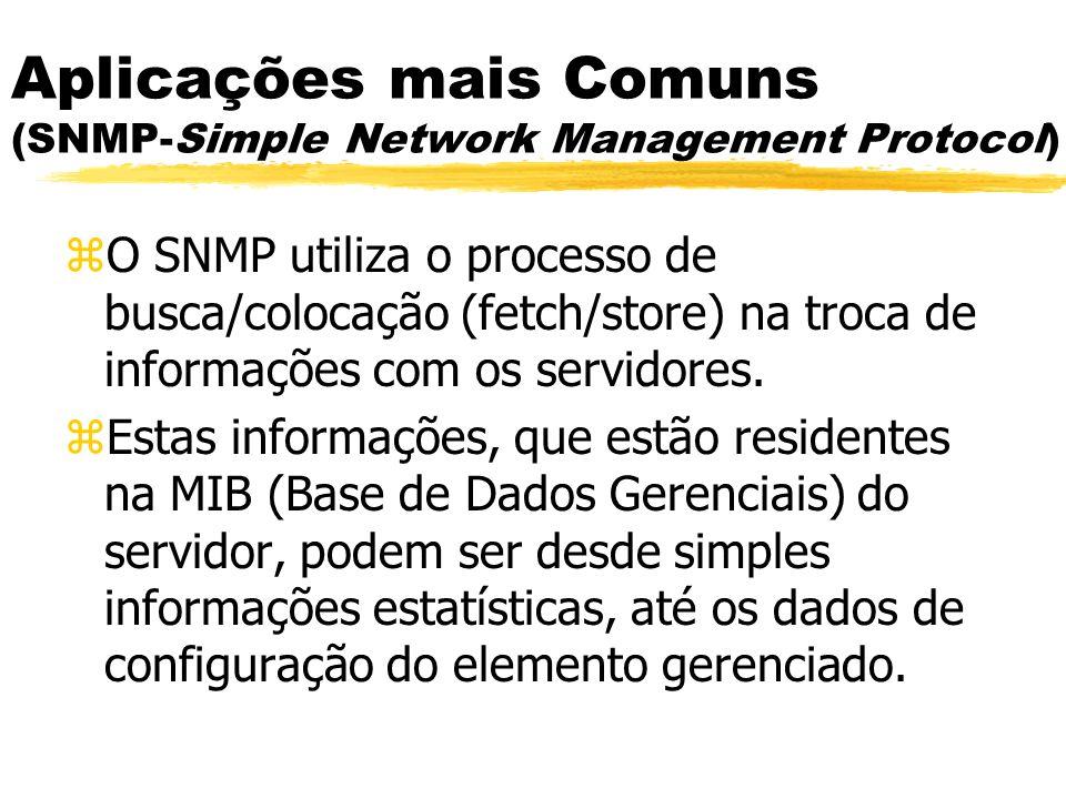 zO SNMP utiliza o processo de busca/colocação (fetch/store) na troca de informações com os servidores. zEstas informações, que estão residentes na MIB