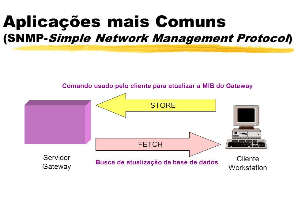 FETCH STORE Cliente Workstation Servidor Gateway Comando usado pelo cliente para atualizar a MIB do Gateway Busca de atualização da base de dados