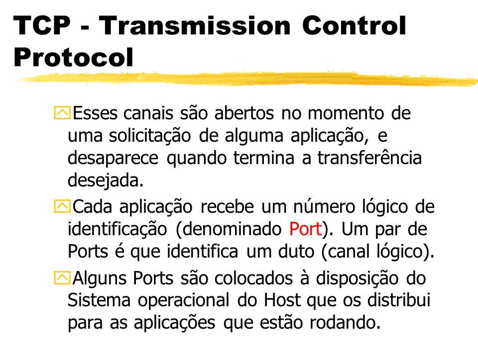 TCP - Transmission Control Protocol yEsses canais são abertos no momento de uma solicitação de alguma aplicação, e desaparece quando termina a transfe