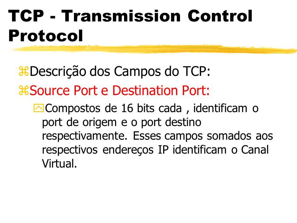TCP - Transmission Control Protocol zDescrição dos Campos do TCP: zSource Port e Destination Port: yCompostos de 16 bits cada, identificam o port de o