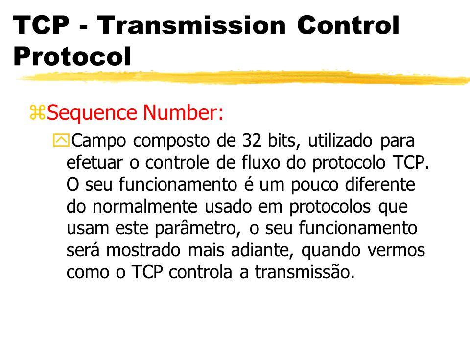 TCP - Transmission Control Protocol zSequence Number: yCampo composto de 32 bits, utilizado para efetuar o controle de fluxo do protocolo TCP. O seu f
