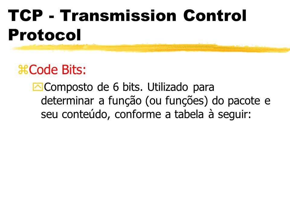 TCP - Transmission Control Protocol zCode Bits: yComposto de 6 bits. Utilizado para determinar a função (ou funções) do pacote e seu conteúdo, conform