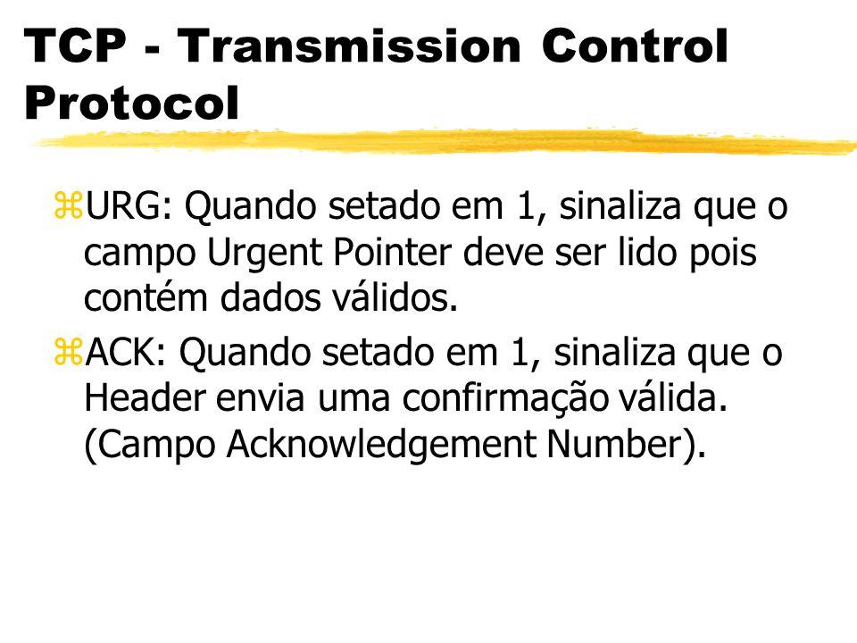 zURG: Quando setado em 1, sinaliza que o campo Urgent Pointer deve ser lido pois contém dados válidos. zACK: Quando setado em 1, sinaliza que o Header