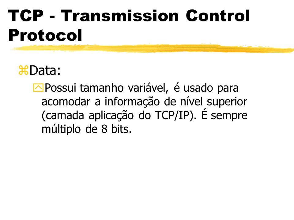 TCP - Transmission Control Protocol zData: yPossui tamanho variável, é usado para acomodar a informação de nível superior (camada aplicação do TCP/IP)