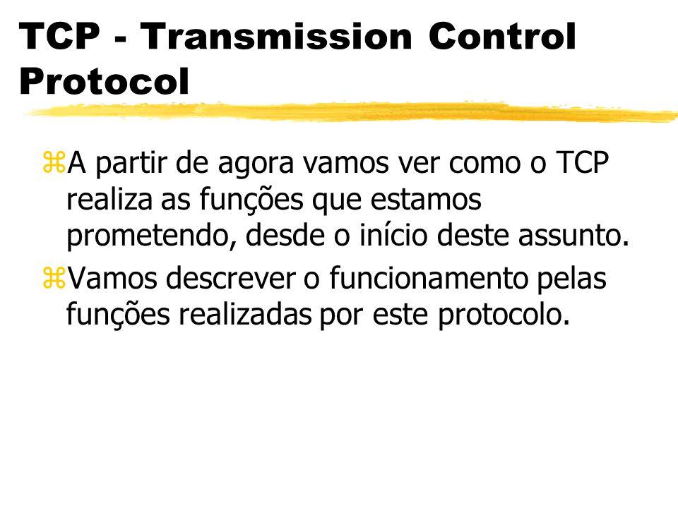 TCP - Transmission Control Protocol zA partir de agora vamos ver como o TCP realiza as funções que estamos prometendo, desde o início deste assunto. z