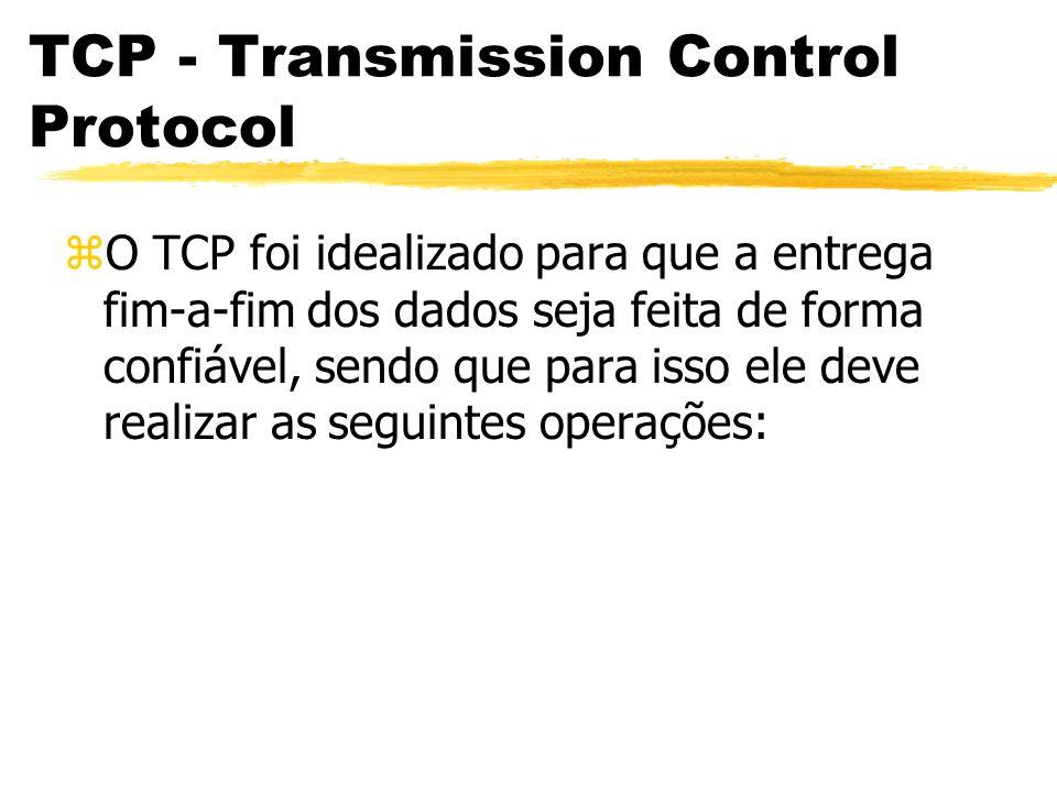 TCP - Transmission Control Protocol zCompatibilização de Tamanho dos Segmentos: yQuando temos que transmitir um bloco de dados entre aplicações, este pode ser muito grande para ser aceito pela camada rede, ou muito pequenos para que haja uma eficiência razoável no processo de transmissão.