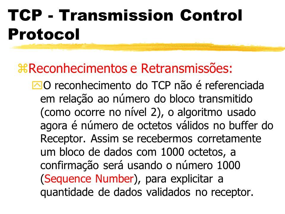 TCP - Transmission Control Protocol zReconhecimentos e Retransmissões: yO reconhecimento do TCP não é referenciada em relação ao número do bloco trans