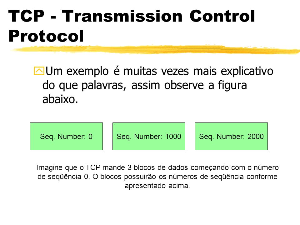 TCP - Transmission Control Protocol yUm exemplo é muitas vezes mais explicativo do que palavras, assim observe a figura abaixo. Seq. Number: 0Seq. Num