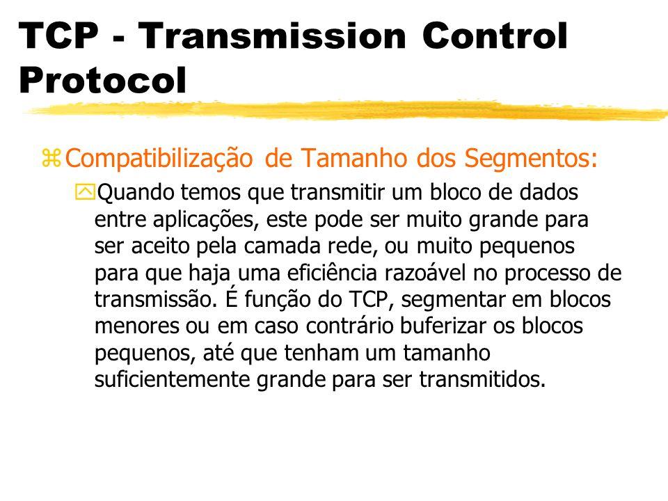 TCP - Transmission Control Protocol zCompatibilização de Tamanho dos Segmentos: yQuando temos que transmitir um bloco de dados entre aplicações, este