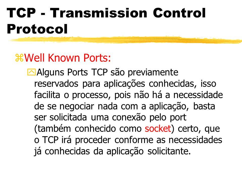 TCP - Transmission Control Protocol zWell Known Ports: yAlguns Ports TCP são previamente reservados para aplicações conhecidas, isso facilita o proces
