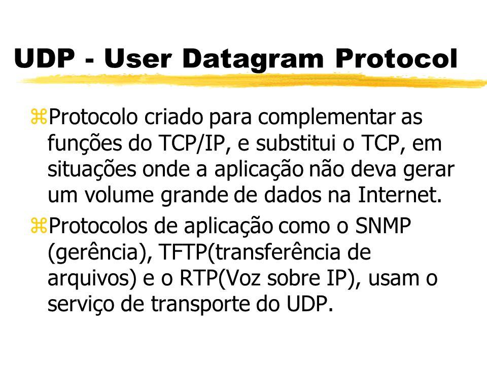 zProtocolo criado para complementar as funções do TCP/IP, e substitui o TCP, em situações onde a aplicação não deva gerar um volume grande de dados na