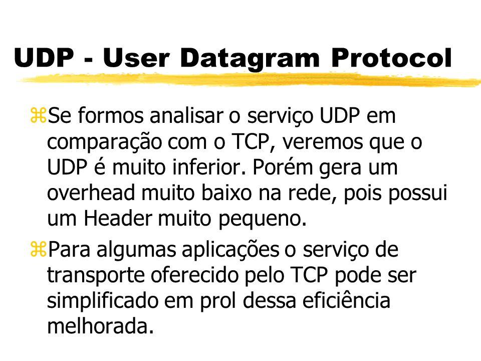 UDP - User Datagram Protocol zSe formos analisar o serviço UDP em comparação com o TCP, veremos que o UDP é muito inferior. Porém gera um overhead mui