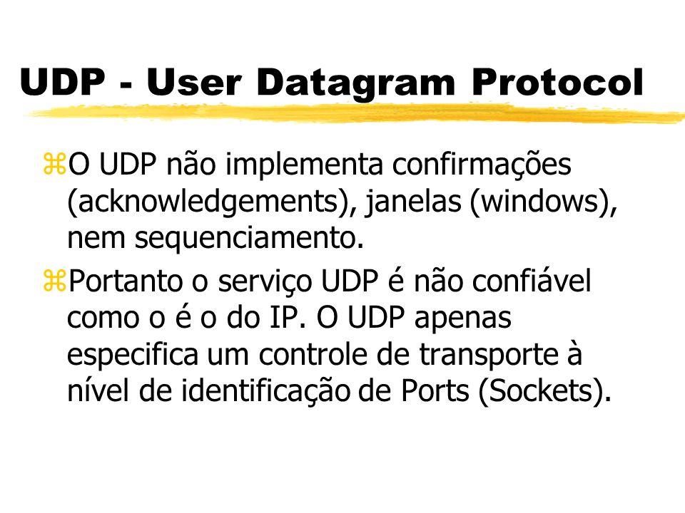 UDP - User Datagram Protocol zO UDP não implementa confirmações (acknowledgements), janelas (windows), nem sequenciamento. zPortanto o serviço UDP é n