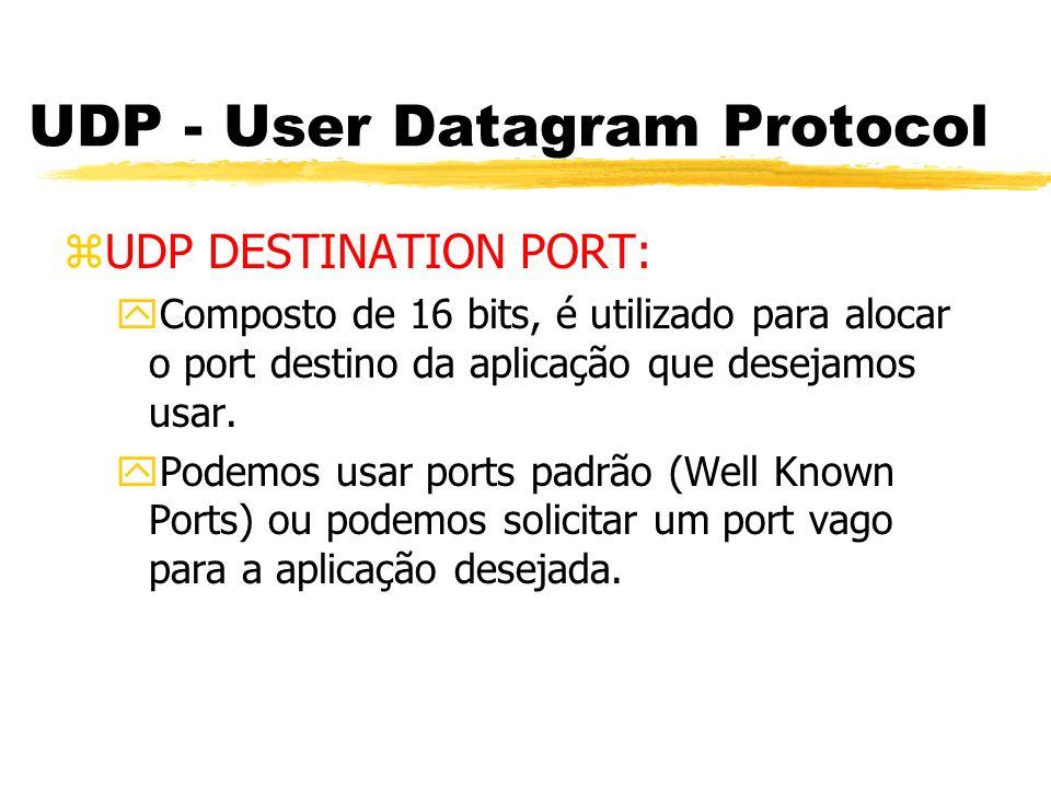 UDP - User Datagram Protocol zUDP DESTINATION PORT: yComposto de 16 bits, é utilizado para alocar o port destino da aplicação que desejamos usar. yPod