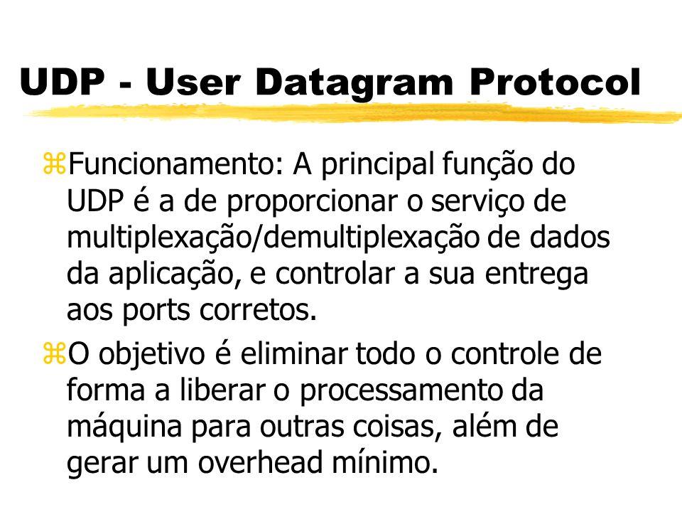 UDP - User Datagram Protocol zFuncionamento: A principal função do UDP é a de proporcionar o serviço de multiplexação/demultiplexação de dados da apli