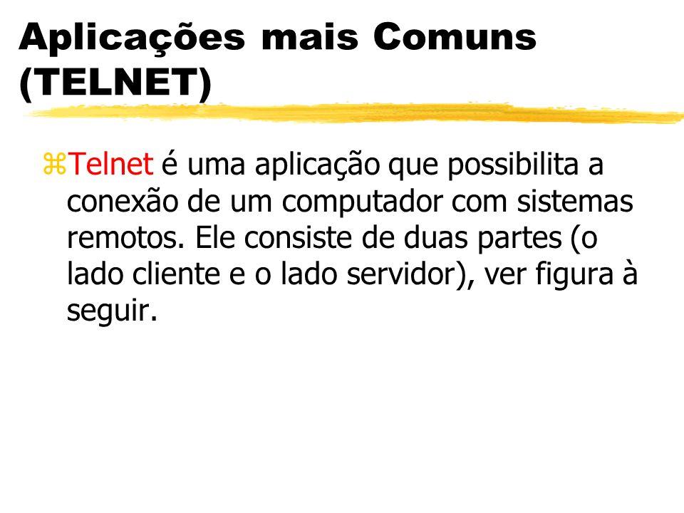 Aplicações mais Comuns (TELNET) zTelnet é uma aplicação que possibilita a conexão de um computador com sistemas remotos. Ele consiste de duas partes (