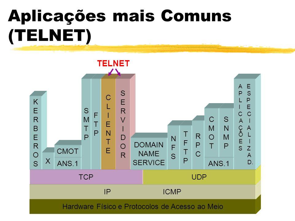 Aplicações mais Comuns (TELNET) TELNETTELNET Hardware Físico e Protocolos de Acesso ao Meio IPICMP TCPUDP KERBEROSKERBEROS X ANS.1 CMOT SMTPSMTP FTPFT