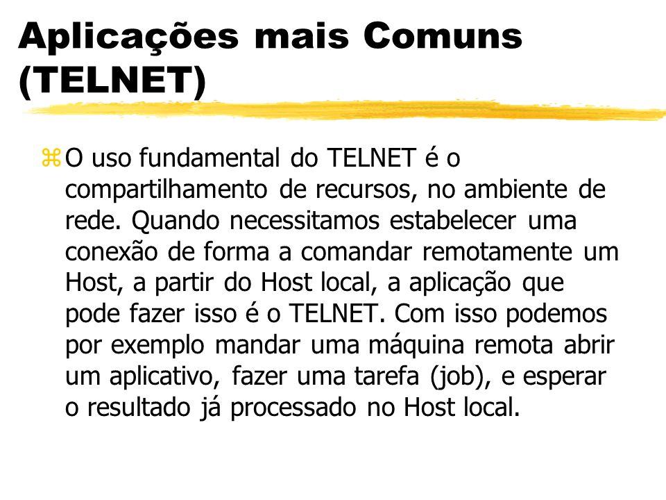 Aplicações mais Comuns (TELNET) zO uso fundamental do TELNET é o compartilhamento de recursos, no ambiente de rede. Quando necessitamos estabelecer um