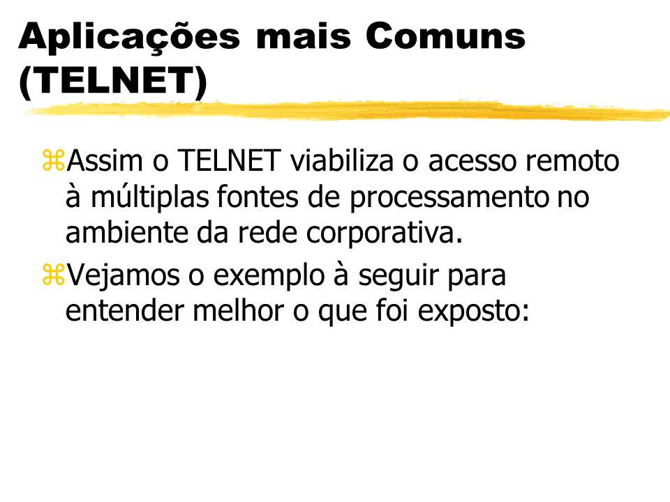 Aplicações mais Comuns (TELNET) zAssim o TELNET viabiliza o acesso remoto à múltiplas fontes de processamento no ambiente da rede corporativa. zVejamo