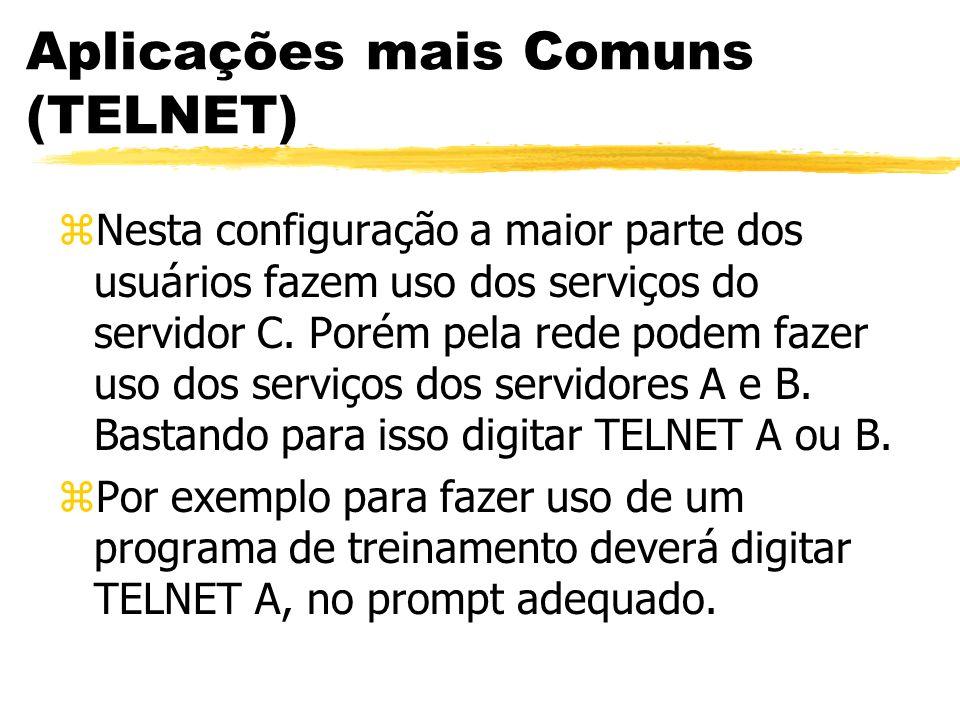 Aplicações mais Comuns (TELNET) zNesta configuração a maior parte dos usuários fazem uso dos serviços do servidor C. Porém pela rede podem fazer uso d