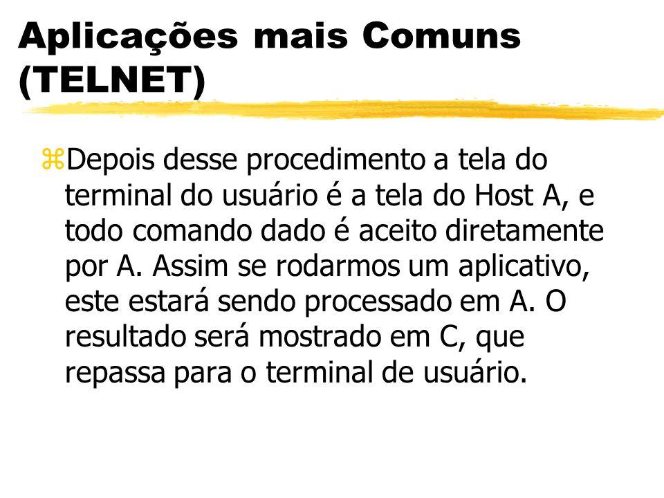 Aplicações mais Comuns (TELNET) zDepois desse procedimento a tela do terminal do usuário é a tela do Host A, e todo comando dado é aceito diretamente
