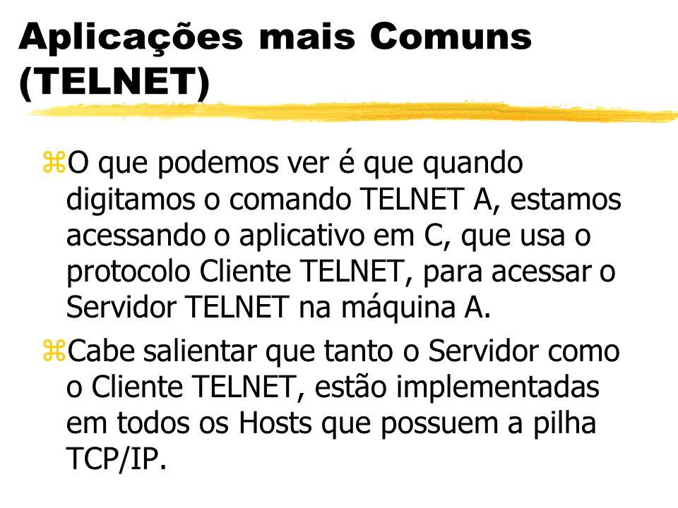 Aplicações mais Comuns (TELNET) zO que podemos ver é que quando digitamos o comando TELNET A, estamos acessando o aplicativo em C, que usa o protocolo